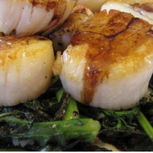 Spicy Mustard Scallops with Chard