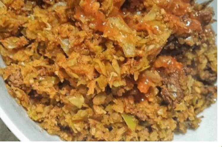 """Texas Dirty """"Rice"""" (Beef & Cabbage)"""