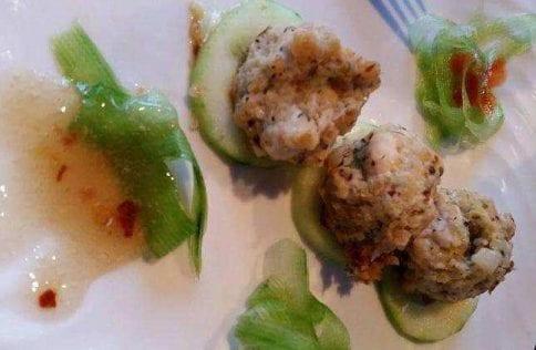 Fennel Chicken Meatballs over Cucumbers
