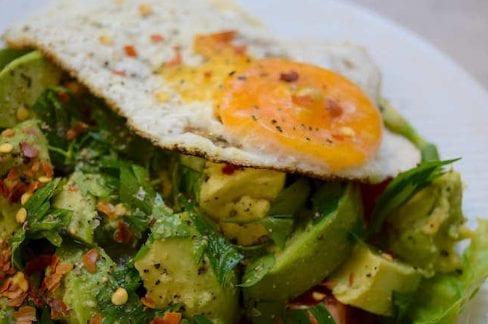 Fried Avocado and Egg Spring Salad