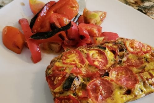 Roasted Red Pepper & Tomato Frittata with Side Salad