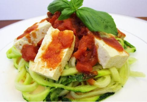 Tofu with Fire Roasted Tomatoes and Zucchini Noodles