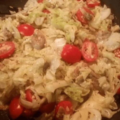 Cabbage Noodles & Veggies with Coconut Cream Sauce